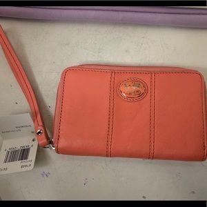 Coach Coral Leather Wallet Wristlet